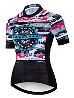 cheap -21Grams Women's Short Sleeve Cycling Jersey Summer Spandex Polyester Black Bike Jersey Top Mountain Bike MTB Road Bike Cycling Quick Dry Moisture Wicking Breathable Sports Clothing Apparel / Stretchy