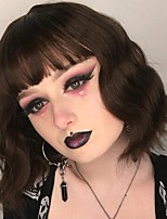 cheap -halloweencostumes Short Black Wig for Women mixed Brown Highlights Synthetic Wavy Curly Bangs Wig Cosplay Halloween Daily Natural Looking Heat Resistant