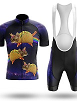 cheap -Men's Short Sleeve Cycling Jersey with Bib Shorts Winter Summer Spandex Purple Cat Bike Quick Dry Breathable Sports Cat Mountain Bike MTB Road Bike Cycling Clothing Apparel / Stretchy / Athletic
