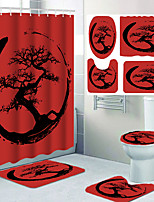 cheap -Personalized Design Cartoon Printing Four-piece Shower Curtain and Hook Modern Polyester Machined Waterproof Bathroom