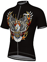 cheap -21Grams Men's Short Sleeve Cycling Jersey Summer Spandex Polyester Black Eagle Bike Jersey Top Mountain Bike MTB Road Bike Cycling Quick Dry Moisture Wicking Breathable Sports Clothing Apparel