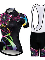 cheap -Women's Short Sleeve Cycling Jersey with Shorts Summer Spandex White Black Floral Botanical Bike Quick Dry Breathable Sports Floral Botanical Mountain Bike MTB Road Bike Cycling Clothing Apparel
