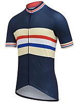 cheap -21Grams Men's Short Sleeve Cycling Jersey Summer Spandex Polyester Dark Navy Stripes Bike Jersey Top Mountain Bike MTB Road Bike Cycling Quick Dry Moisture Wicking Breathable Sports Clothing Apparel
