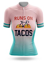 cheap -21Grams Women's Short Sleeve Cycling Jersey Summer Spandex Polyester Pink Gradient Bike Jersey Top Mountain Bike MTB Road Bike Cycling Quick Dry Moisture Wicking Breathable Sports Clothing Apparel