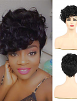 cheap -JF276 Black Afro Wig with Bangs Short Curly Wig for Black Women Halloween Cosplay Daily Wig