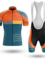 cheap -Men's Short Sleeve Cycling Jersey with Bib Shorts Winter Summer Spandex Orange Bike Quick Dry Breathable Sports Lines / Waves Mountain Bike MTB Road Bike Cycling Clothing Apparel / Stretchy