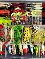cheap -180 pcs Lure kit Fishing Lures Hard Bait Soft Bait Spoons Minnow Popper Vibration / VIB Frog Bass Trout Pike Freshwater and Saltwater