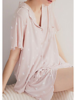cheap -Women's Home Polyester Pant everyday V Wire Suits Short Sleeve Print Spring & Summer Print S White
