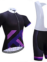 cheap -Women's Short Sleeve Cycling Jersey with Shorts Summer Spandex White Black Bike Quick Dry Breathable Sports Geometric Mountain Bike MTB Road Bike Cycling Clothing Apparel / Stretchy / Athletic