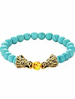 cheap -minijewelry men women dragon turquoise bracelet orange ball elastic stretch blessing bracelet brother dad boyfriend blue green turquoise bead