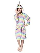 cheap -Kid's Kigurumi Pajamas Cartoon Onesie Pajamas Flannel Fabric Rainbow Cosplay For Boys and Girls Animal Sleepwear Cartoon Festival / Holiday Costumes / Waist Belt