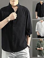 cheap -Men's Hiking Shirt / Button Down Shirts Fishing Shirt Long Sleeve Jacket Top Outdoor Quick Dry Lightweight Breathable Sweat wicking Autumn / Fall Spring Summer Linen / Cotton Blend ArmyGreen White