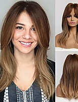 cheap -16 inch long wavy hair ombre blonde wig with bangs brown roots blonde hair synthetic long straight wigs for women layered shoulder length hairstyle fiber highlight multicolor wigs(ombre blonde)