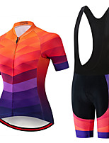 cheap -Women's Short Sleeve Cycling Jersey with Shorts Summer Spandex Polyester Black Red Rainbow Bike Clothing Suit 3D Pad Quick Dry Breathable Sports Rainbow Mountain Bike MTB Road Bike Cycling Clothing