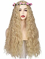 cheap -pink flower crown and blonde fluffy wavy middle parted cosplay wig for women