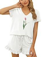 cheap -Women Basic Floral Daily Wear Two Piece Set Tracksuit Loungewear Print Tops