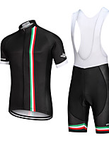 cheap -Men's Short Sleeve Cycling Jersey with Bib Shorts Summer Elastane Forest Green Black Purple Solid Color Bike Shorts Moisture Wicking Breathable Sports Solid Color Mountain Bike MTB Road Bike Cycling