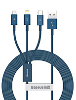 cheap -BASEUS Micro USB Lightning USB C Cable 1 to 3 3.5 A 1.5m(5Ft) TPE For Macbook iPad Samsung Phone Accessory