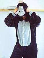 cheap -Adults' Intermediate Kigurumi Pajamas Nightwear Monkey Onesie Pajamas Flannel Coral fleece Black Cosplay For Men and Women Animal Sleepwear Cartoon Festival / Holiday Costumes