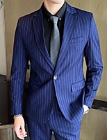 cheap -Men's Wedding Suits Notch Tailored Fit Single Breasted One-button Straight Flapped Striped Polyester