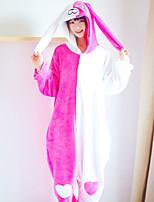 cheap -Adults' Highschool Kigurumi Pajamas Nightwear Rabbit Bunny Diane Onesie Pajamas Flannel Coral fleece White+Pink Cosplay For Men and Women Animal Sleepwear Cartoon Festival / Holiday Costumes