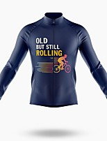 cheap -21Grams Men's Long Sleeve Cycling Jersey Spandex Polyester Dark Blue Sloth Bike Jersey Top Mountain Bike MTB Road Bike Cycling Quick Dry Moisture Wicking Breathable Sports Clothing Apparel