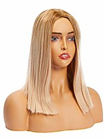 cheap -straight bob wig for women, ombre middle part, ash blonde synthetic hair (15.5 in)