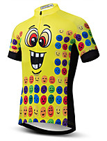 cheap -21Grams Men's Short Sleeve Cycling Jersey Summer Spandex Polyester Yellow Cartoon Bike Jersey Top Mountain Bike MTB Road Bike Cycling Quick Dry Moisture Wicking Breathable Sports Clothing Apparel