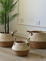 cheap -Storage Garden Basket Rattan Straw Wickerwork Basket Folding Seagrasss Flower Pot Planter