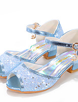 cheap -Girls' Sandals Flower Girl Shoes Princess Shoes School Shoes Rubber PU Little Kids(4-7ys) Big Kids(7years +) Daily Party & Evening Walking Shoes Rhinestone Sparkling Glitter Buckle Purple Blue Pink