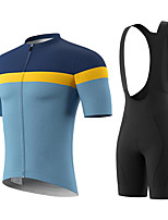cheap -Men's Short Sleeve Cycling Jersey with Bib Shorts Summer Spandex Blue Solid Color Bike Quick Dry Breathable Sports Solid Color Mountain Bike MTB Road Bike Cycling Clothing Apparel / Stretchy