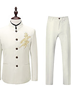 cheap -Men's Wedding Suits Mandarin Tailored Fit Single Breasted More-button Straight Piped Embroidery Polyester