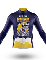cheap -21Grams Men's Long Sleeve Cycling Jersey Spandex Polyester Dark Navy Oktoberfest Beer Bike Jersey Top Mountain Bike MTB Road Bike Cycling Quick Dry Moisture Wicking Breathable Sports Clothing Apparel