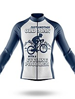 cheap -21Grams Men's Long Sleeve Cycling Jersey Spandex Polyester Grey Bike Jersey Top Mountain Bike MTB Road Bike Cycling Quick Dry Moisture Wicking Breathable Sports Clothing Apparel / Athleisure