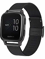 cheap -smartwatch band bracelet compatible with garmin venu sq / sq music, mesh woven stainless steel quick release bracelet metal smartwatch band business replacement strap for garmin venu, black