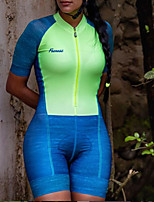 cheap -Women's Men's Short Sleeve Triathlon Tri Suit Summer Green Patchwork Bike Quick Dry Breathable Sports Patchwork Mountain Bike MTB Road Bike Cycling Clothing Apparel / Stretchy / Athletic