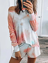 cheap -amazon hot models european and american long-sleeved pajamas women 2020 new loose gradient color printing and dyeing comfortable women's home