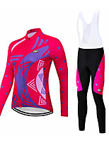 cheap -CAWANFLY Women's Long Sleeve Cycling Padded Shorts Cycling Jersey with Bib Shorts Cycling Jersey with Shorts Summer Spandex Pink+White Pink Rose Red Bike Shorts Breathable Sports Geometic Mountain