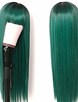 cheap -sallcks long straight wig with bangs ombre green silky synthetic heat resistant cosplay costume wigs for women girls