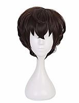 cheap -qiancoshair anime dazai osamu cosplay wig brown short synthetic halloween party wig for man