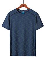 cheap -Men's Hiking Tee shirt Short Sleeve Crew Neck Tee Tshirt Outdoor Ultra Light (UL) Quick Dry Breathable Sweat wicking Spring Summer Chinlon Elastane Patchwork Red+Brown Black / Orange Blue / Black