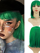 cheap -Cosplay Costume Wig Synthetic Wig Cosplay Wig Wavy Natural Straight Neat Bang Wig fluorescent green Synthetic Hair Women's Cosplay Adjustable Heat Resistant Green