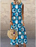 preiswerte -Damen Etuikleid Maxikleid Blau Ärmellos Einfarbig Geometrisch Druck Frühling Sommer Rundhalsausschnitt Freizeit 2021 S M L XL XXL 3XL