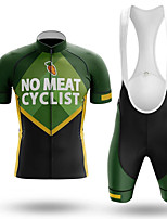 cheap -21Grams Men's Short Sleeve Cycling Jersey with Bib Shorts Summer Spandex Polyester Green Bike Clothing Suit 3D Pad Quick Dry Moisture Wicking Breathable Reflective Strips Sports Graphic Mountain Bike