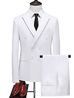 cheap -Men's Wedding Suits Peak Tailored Fit Double Breasted Six-buttons Straight Flapped Solid Color Polyester