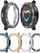 cheap -protective case for samsung galaxy watch active 2, 40 mm, 44 mm, 4 packs of rhinestones, 44 mm, black + silver + indigo + rose gold