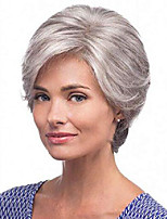 cheap -short gray wig pixie cut wig for old ladies mixed sliver gray wigs for white women natural short synthetic wig