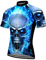 cheap -21Grams Men's Short Sleeve Cycling Jersey Summer Spandex Polyester Blue Sugar Skull Skull Bike Jersey Top Mountain Bike MTB Road Bike Cycling Quick Dry Moisture Wicking Breathable Sports Clothing