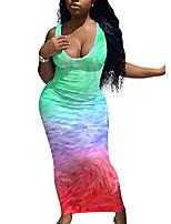 cheap -lajiojio women casual summer tank dress sexy multicolor sleeveless bodycon party dress full length