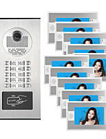 cheap -10 Units Apartment Video Intercom Video Door Entry IR-CUT 1000TVL Camera Doorbell RFID Card Access Multi Families